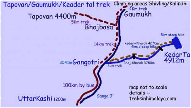 Gaumukh Tapovan Trek Map